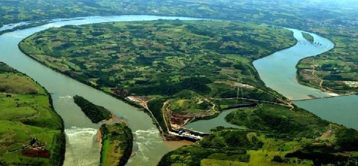 Imagem do lago e da UHE Foz do Chapecó